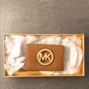 Michael Kors tan leather coin purse/card holder